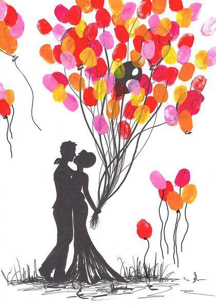Hochzeit Fingerabdruck by Wedding Tree Brautpaar Leinwand Handgemalt Unikat