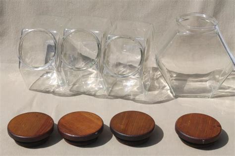 Kitchen Glass Canisters With Lids by Vintage Store Counter Style Glass Canister Jars W Wood