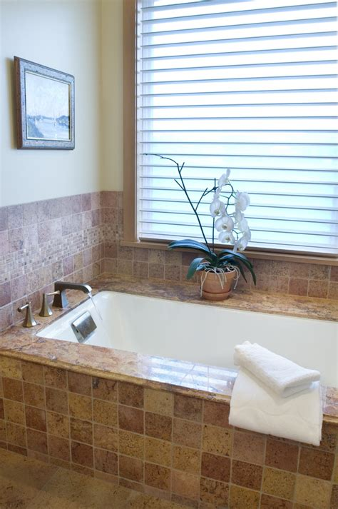 beige bathtub jacuzzi tub surround bathroom eclectic with accent tile