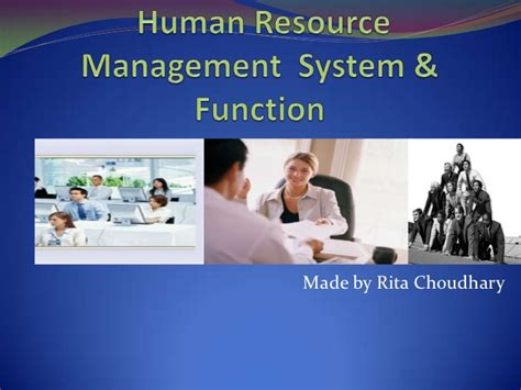 Mba Hr Overview by Overview Of Human Resource Management System Function
