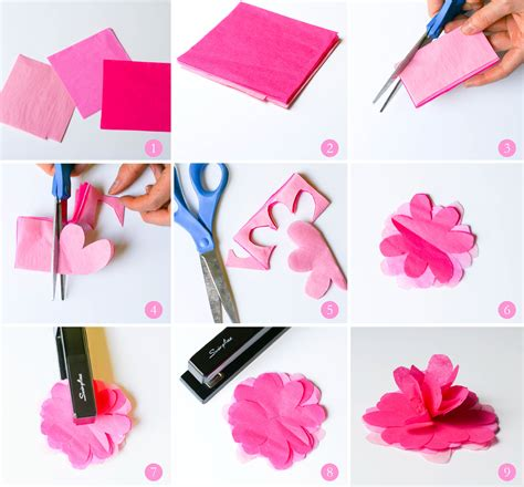 Tissue Paper Flowers Step By Step - ruff draft diy tissue paper flower from our birthday