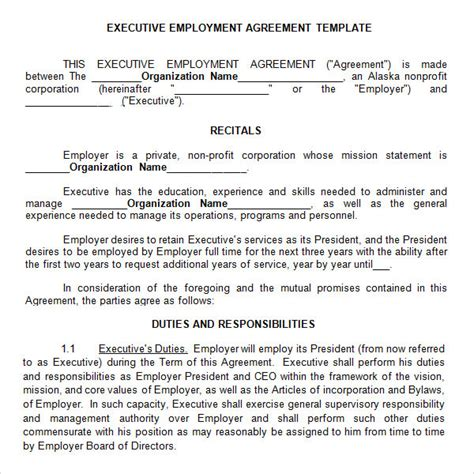 Executive Employment Contract Template 10 Free Sle Executive Agreement Templates Sle Templates