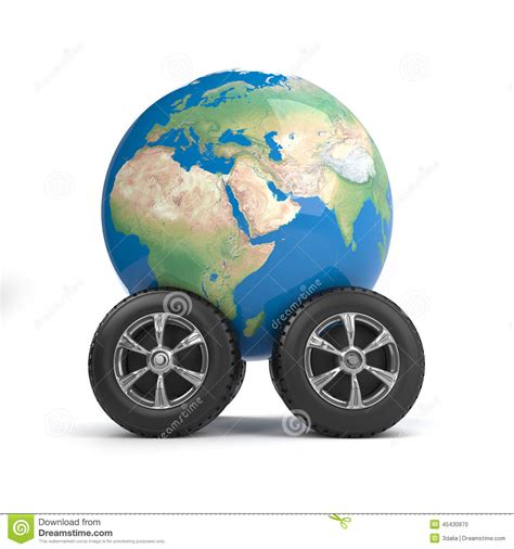 Car On Earth by 3d Globe On Wheels Stock Illustration Illustration Of