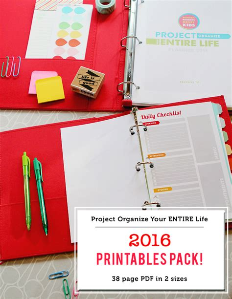 life organizer planner printable project organize your entire life 2016 planner printables