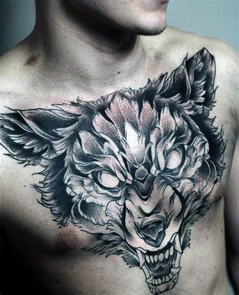 tattoo chest wolf 60 wolf chest tattoo designs for men manly ink ideas