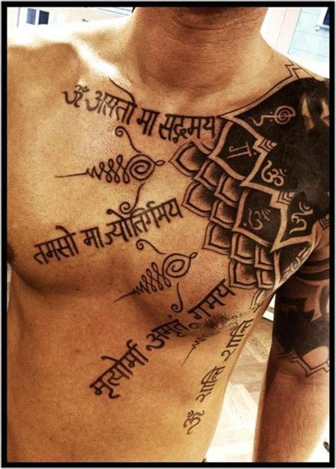 sanskrit awesome letters scarification skin tattoo on men