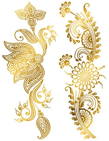 gold henna tattoo designs custom metallic temporary gold henna