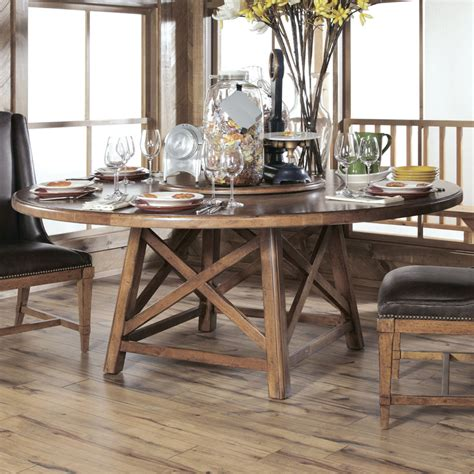 rustic round dining room tables american drew new river old orchard round dining table in