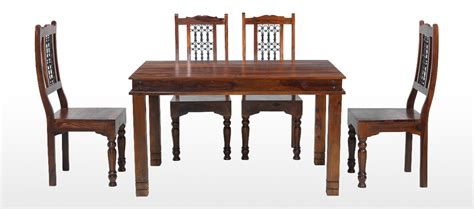 Jali Dining Table And Chairs Jali Sheesham 120 Cm Chunky Dining Table And 4 Chairs Quercus Living