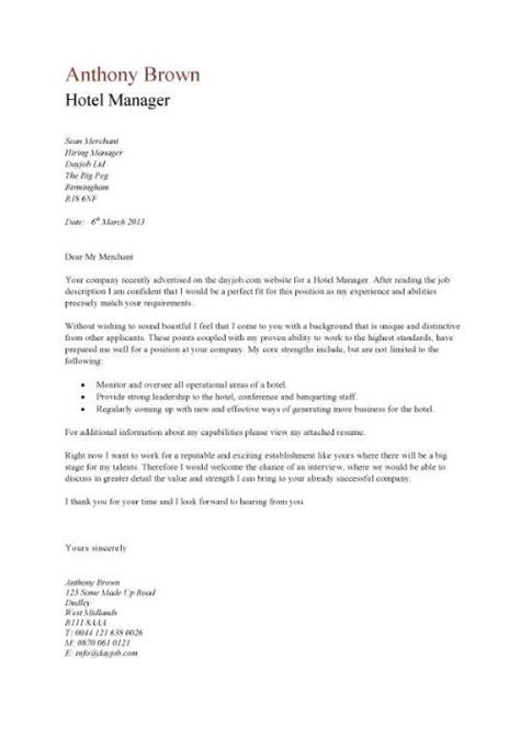 Hotel General Manager Cover Letter hotel manager cv template description cv exle