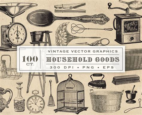 home goods design jobs vintage household goods graphics collection 100 vector