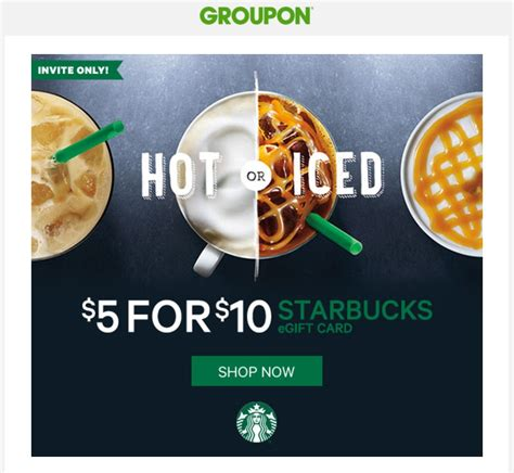Use Groupon Gift Card - targeted 10 starbucks egift card for 5 at groupon frequent miler