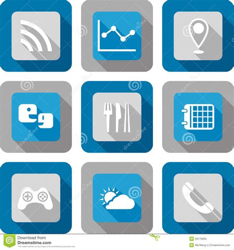 design application icon smart phone application icon set stock vector image