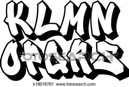 graffiti font type alphabet part  clip art