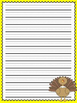 free printable thanksgiving lined paper primary lined thanksgiving writing paper by allison chunco