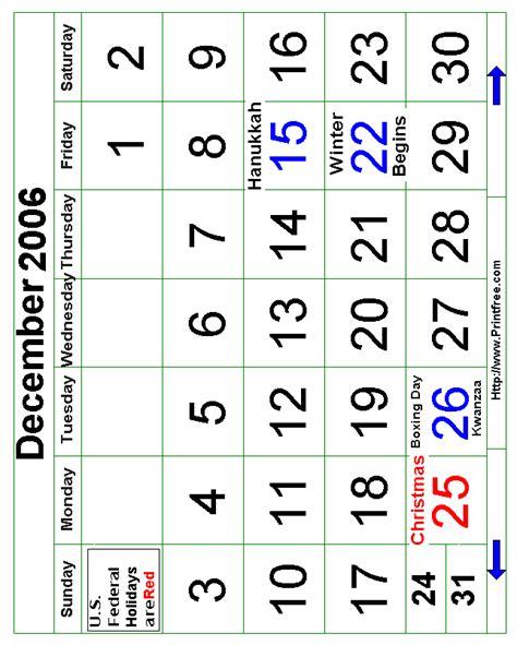 December 2006 Calendar December 2006 Bold Calendar