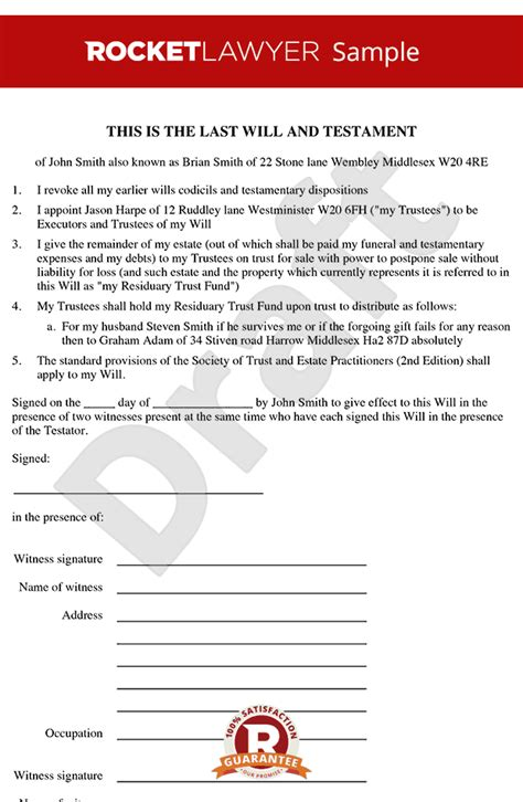 free will document template will template free last will testament form