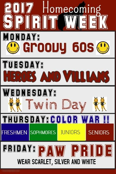of the week poster template spirit week template postermywall
