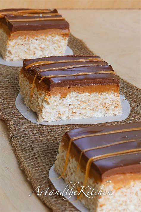 chocolate caramel rice krispie squares chocolate covered