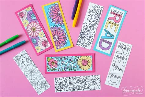 printable summer bookmarks summer coloring page bookmarks dawn nicole designs 174