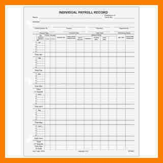 6 Individual Payroll Record Form Pay Stub Format Individual Payroll Record Template