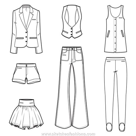 flat clothing design sketches portfolio and technical