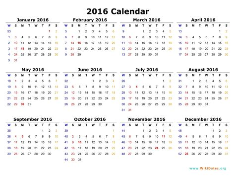 printable version of a 2016 calendar 2016 calendar wikidates org