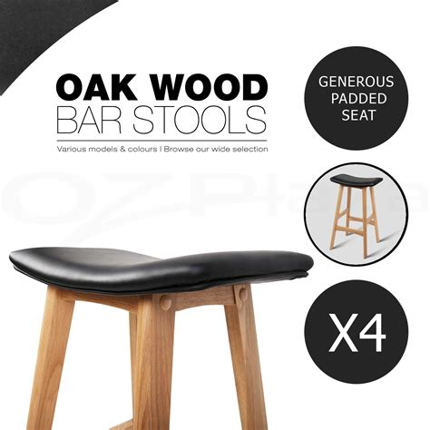 4 Wooden Bar Stools by 2x 4x Oak Wood Bar Stool Wooden Barstool Timber Dining