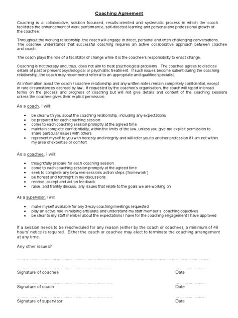 coaching contracts templates coaching contract template 3 free templates in pdf word