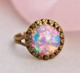 Opel Rings Vintage Opal Ring Harlequin Glass Opal Adjustable Ring