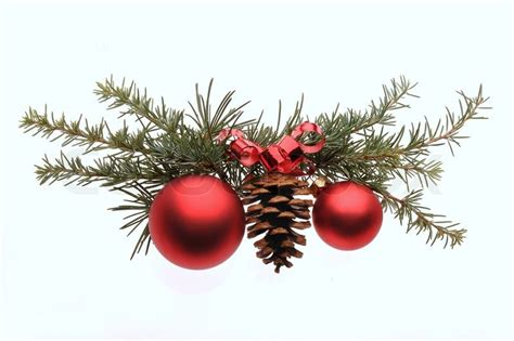 christmas decoration with pine branches red glass ball