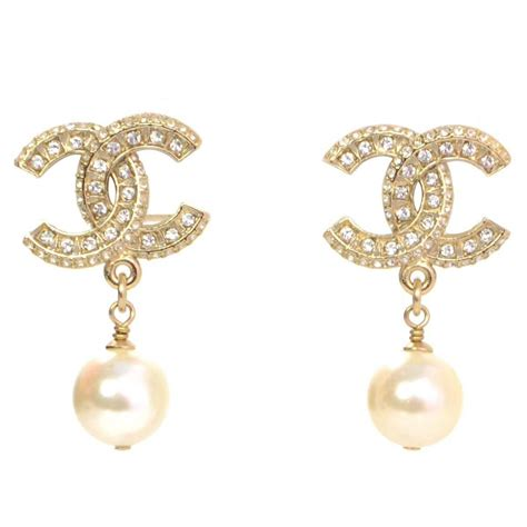 chanel new 16 and pearl cc drop earrings at 1stdibs