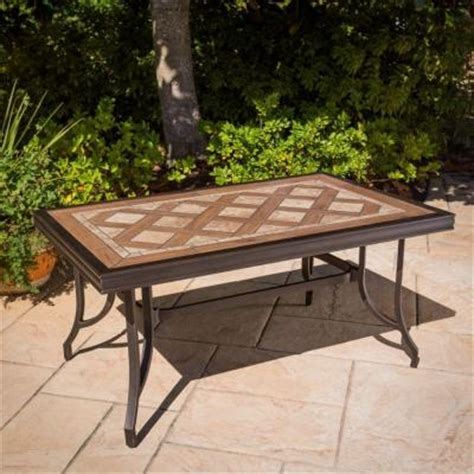 Hton Bay Pine Valley Tile Top Patio Coffee Table Tile Top Patio Table