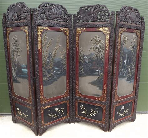 vintage carved painted oriental  fold screen