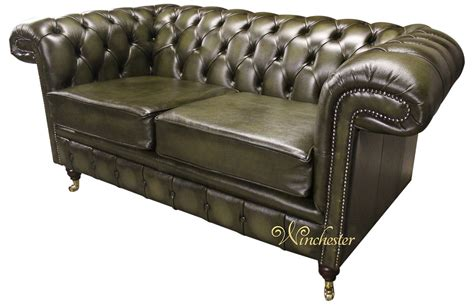 green leather sofa chesterfield sandringham 2 seater antique green leather