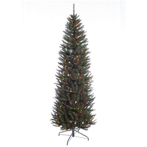 75 holiday time pre lit linden fir artificial christmas tree 7 5 ft pre lit incandescent fraser fir pencil artificial tree with 350 ul multi