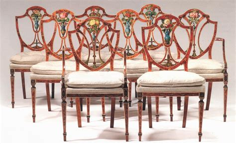 set of eight george iii satinwood and painted dining