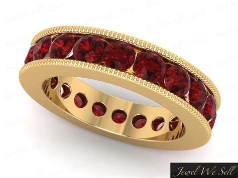Ruby 4 35ct 4 35ct ruby channel set milgrain wedding eternity band