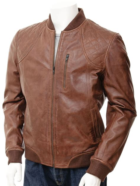 Jaketexpress Boomber Brown Jacket Boomber mens bomber leather jacket in brown ferrers caine