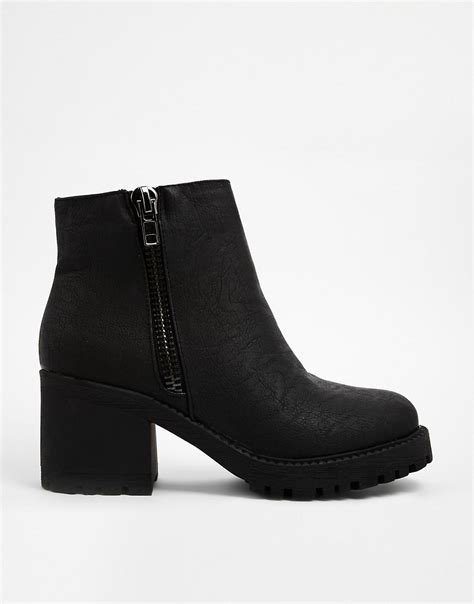 new look new look ch black zip detail chunky heeled