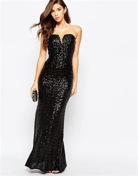 Maxi Sequin tfnc showstopper sequin maxi dress in black lyst
