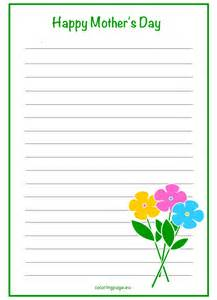 flower writing paper mother s day writing paper flowers coloring page flower stationary writing paper