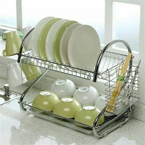 Space Saving Dish Rack by Autoleader Stainless Steel Dish Rack 2 Tier Space Saver Dish Drainer Drying Holder Sliver