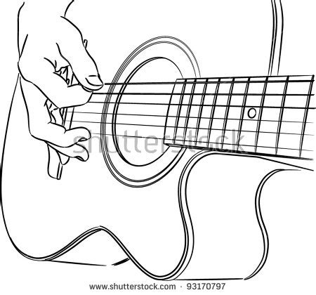 Acoustic Guitar Outline Drawing by Acoustic Guitar Silhouette Stock Images Royalty Free