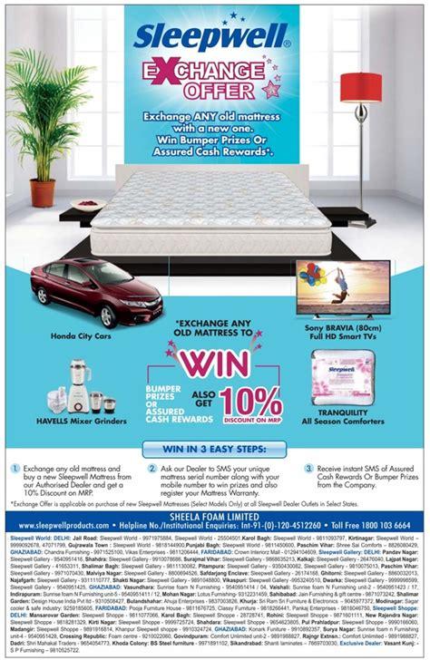 Sleepwell Mattress Delhi by Sleepwell Exchange Offer New Delhi Saleraja