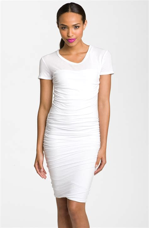 Ruched Dresses by Ruched Tshirt Dress In White Lyst