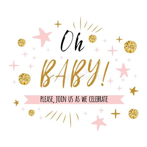Oh Baby Text With Gold Polka Dot And Pink Star For Girl Baby Shower Card Invitation Template Baby Shower Text Template