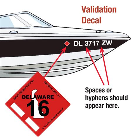 nys boat registration numbers placement displaying the registration number and validation decals