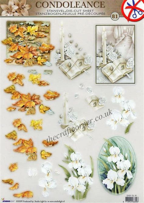 3d decoupage sheets condolence die cut 3d decoupage sheet
