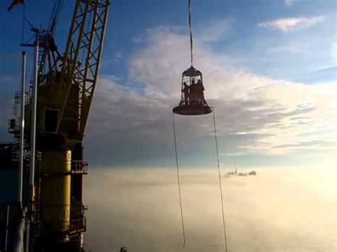 boat landing swing rope offshore basket transfer youtube